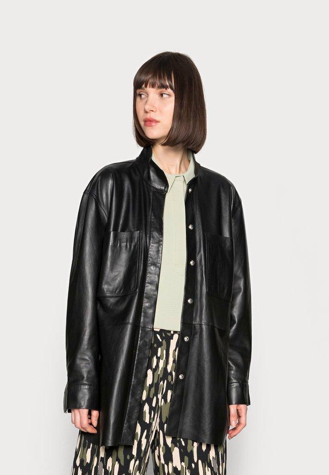 DAY SKIN - Leather jacket - jet black