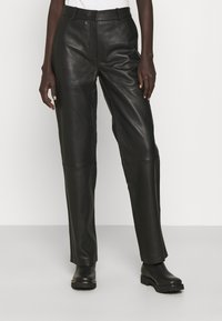 2nd Day - TIMEA - Leather trousers - jet black - 0