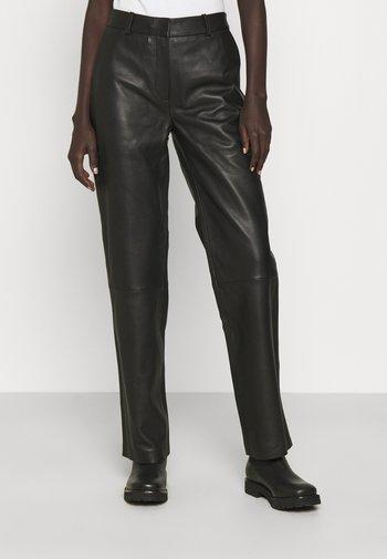 TIMEA - Kožené kalhoty - jet black