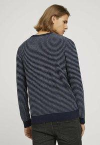 TOM TAILOR DENIM - Jumper - navy blue white stripy pattern - 2