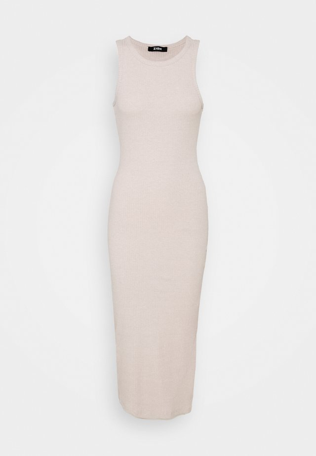 BASIC MIDI JERSEY HIGH NECK DRESS - Shift dress - tan