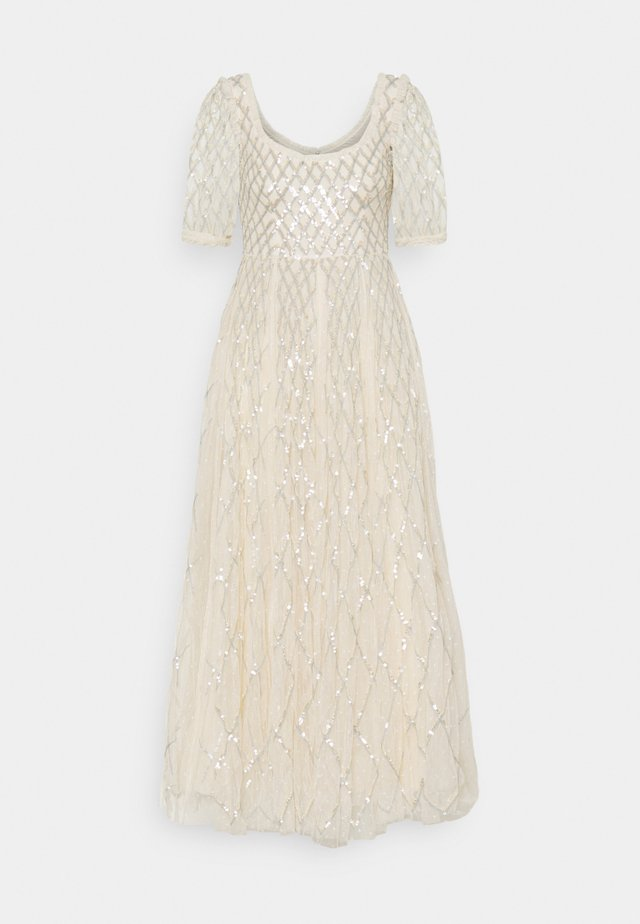SEQUIN GINGHAM ANKLE GOWN - Galajurk - champagne/blue