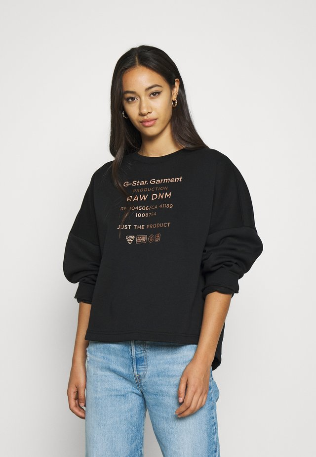 GRAPHIC TEXT RELAXED - Mikina - black