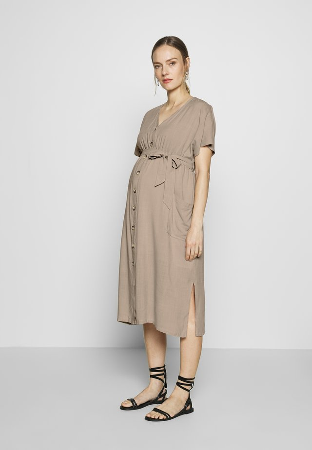 BUTTON FRONT MIDI DRESS - Skjortekjole - natural