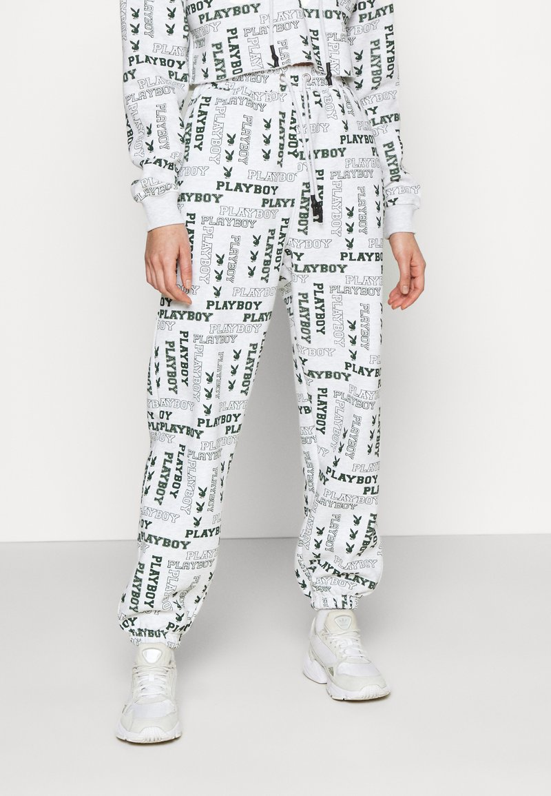 Missguided - PLAYBOY LOGO JOGGER - Tracksuit bottoms - grey marl
