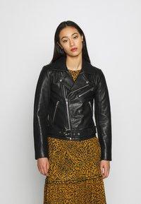 Pieces - PCNICOLINE JACKET - Leather jacket - black - 0