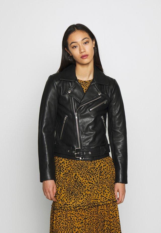 PCNICOLINE JACKET - Leather jacket - black