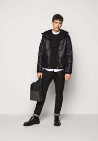 EA7 Emporio Armani - GIUBBOTTO - Leather jacket - black - 1
