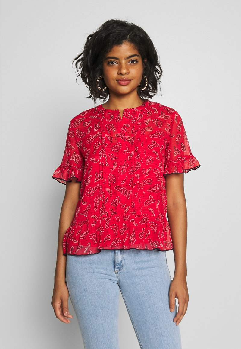 Tommy Jeans - FRILL DETAIL  - Blouse - deep crimson