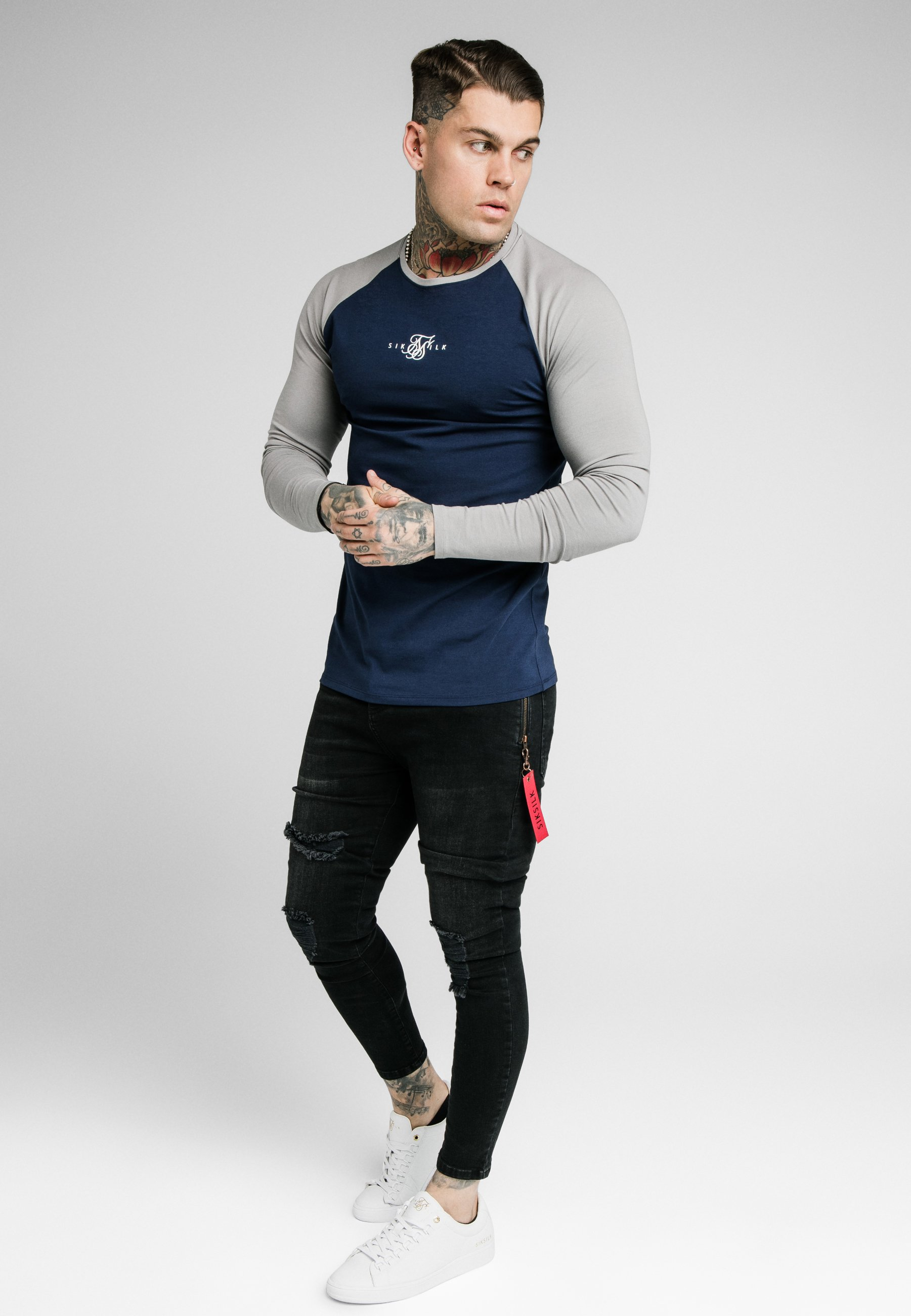Siksilk Square Hem Tee - Topper Langermet Grey/navy/grå