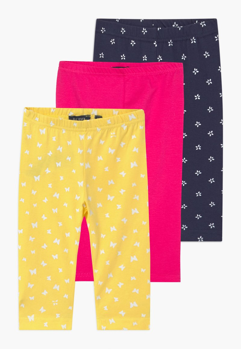 Blue Seven - SMALL GIRLS STARS 3 PACK - Legíny - yellow/navy/pink