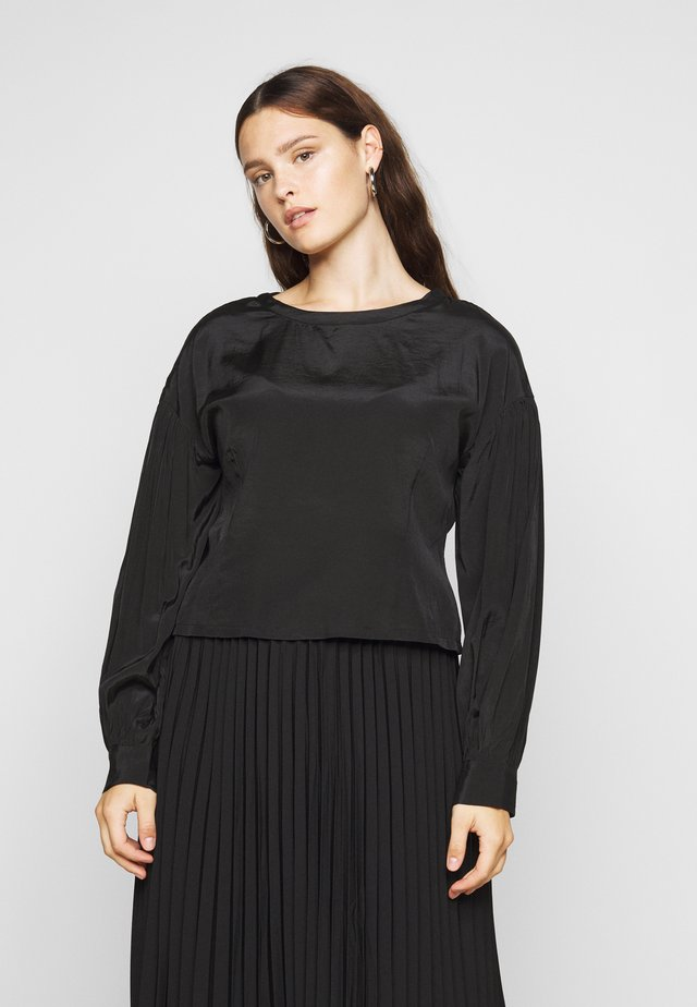 OPEN BACK BLOUSE WITH PUFF SLEEVES - Bluzka - black