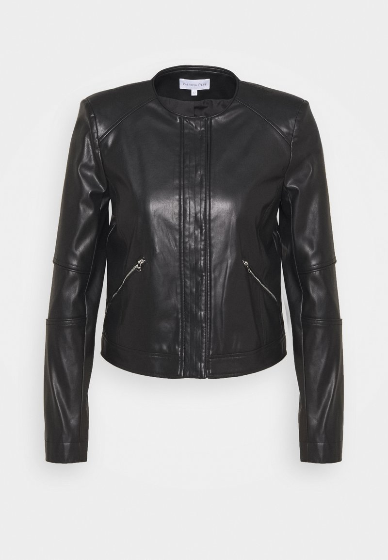 Patrizia Pepe - BUTTON JACKET - Faux leather jacket - nero