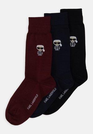3 PACK - Socks - black/blue/bordeaux