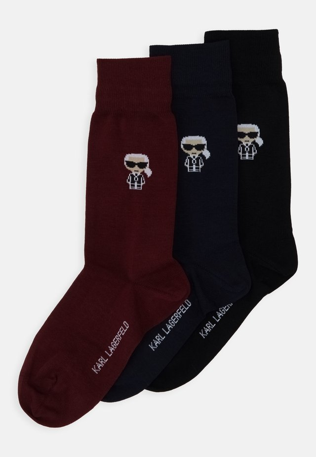 3 PACK - Socks - black/blue/bordeaux