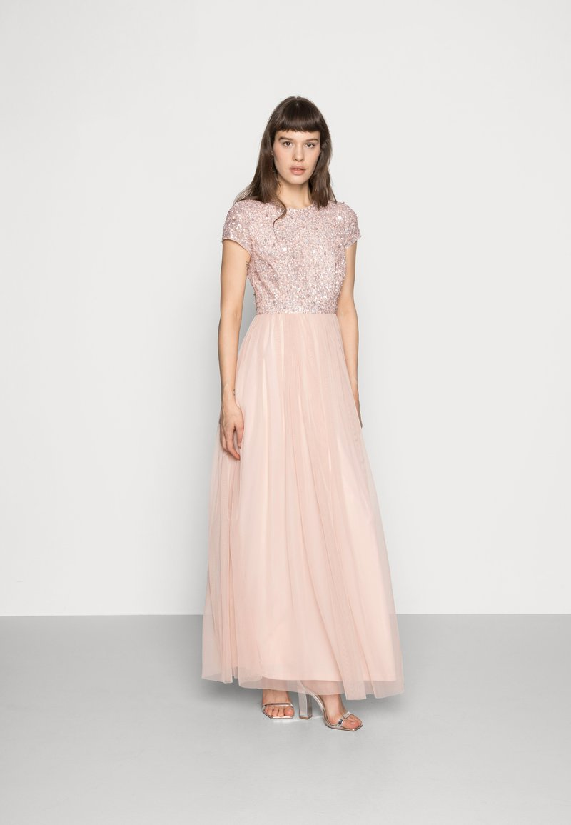 Lace & Beads - PICASSO CAP SLEEVE - Společenské šaty - nude belle