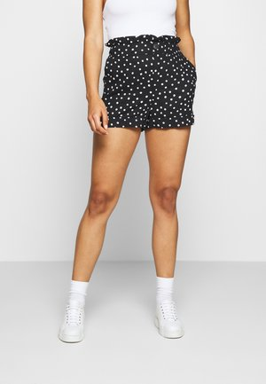 FRILL PAPERBAG SHORTS - Shorts - white/black