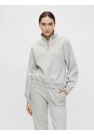 OBJKAISA ZIP - Bluza - light grey melange