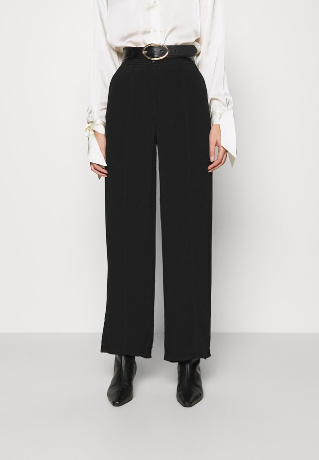 WIDE LEGGED TROUSER - Broek - black dark