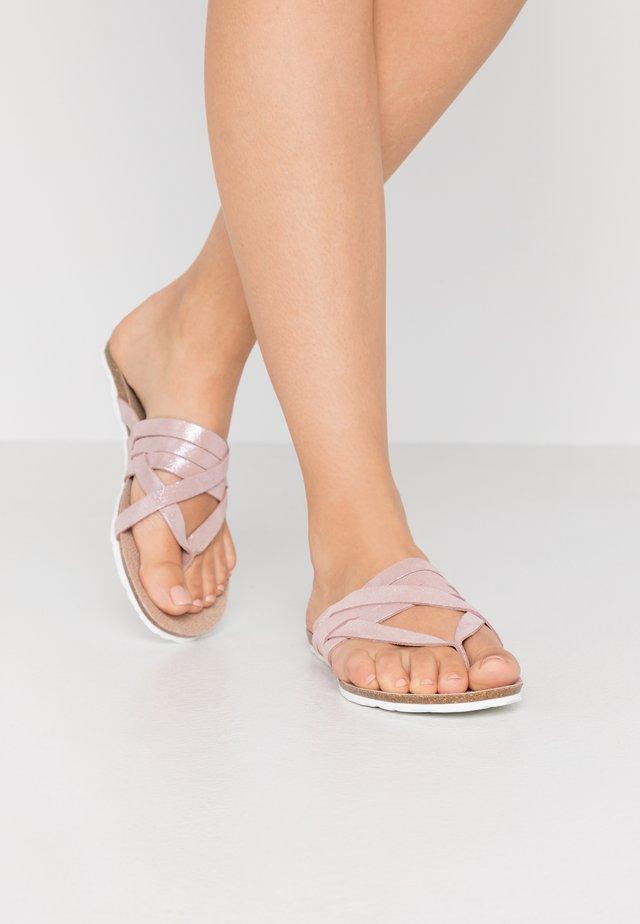 KAYA LOGO STRAP - T-bar sandals - pastel pink