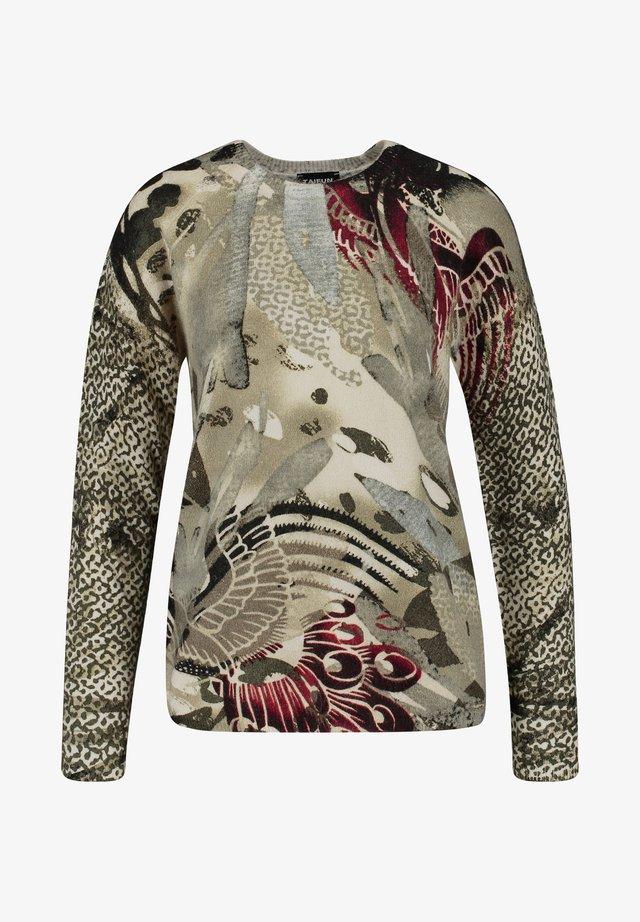 Pullover - khaki gemustert