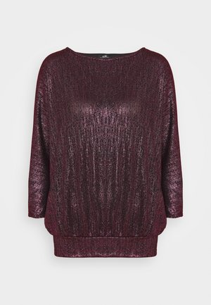 GLITTER DOLMAN SLEEVE - Long sleeved top - berry