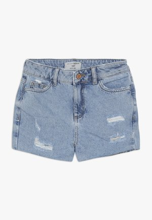ANNIE RIPPED MOM SHORT  - Jeansshorts - blue pattern