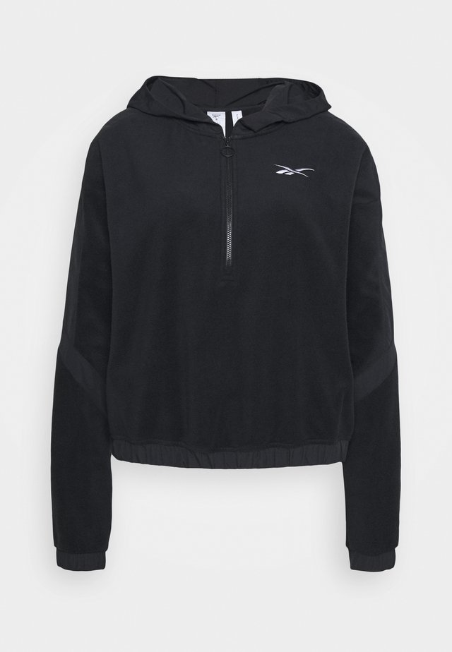 WOR WARMING 1/4 ZIP - Bluza z kapturem - black