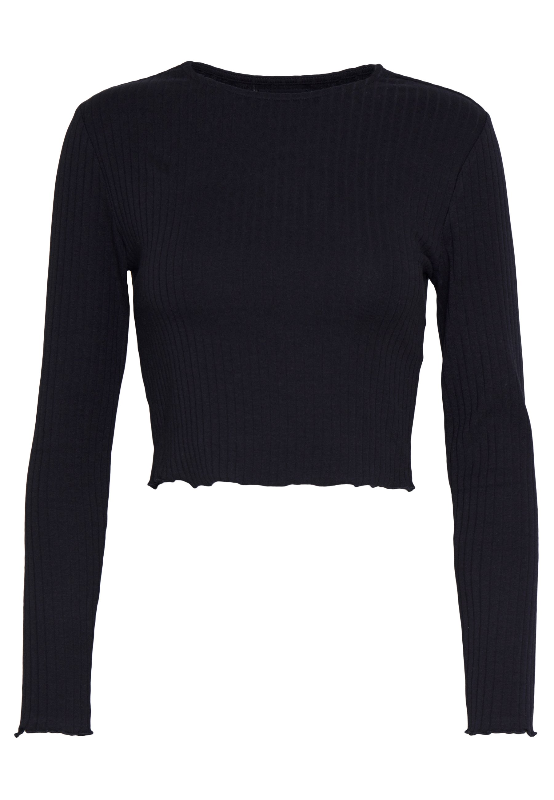Even&odd Petite Cropped Long Sleeve With Lettuce - Topper Langermet Black/svart
