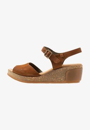 LEAVES - Platform sandals - wood