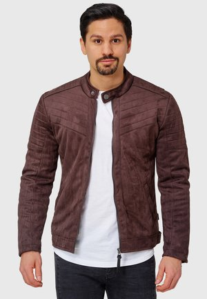 MONTES - Faux leather jacket - dk brown