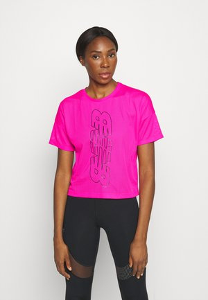 ACHIEVER KEYHOLE BACK GRAPHIC TEE - Print T-shirt - pink glo