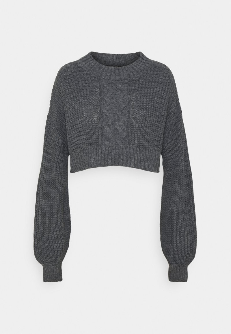 Missguided Petite - CROPPED CABLE JUMPER - Jumper - grey