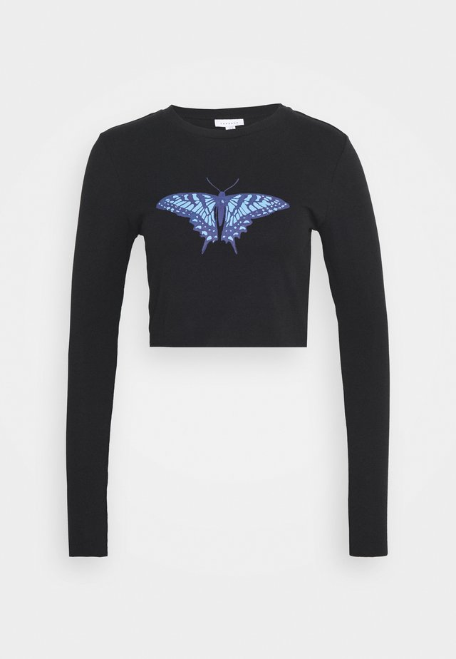 BUTTERFLY CROP - Langærmede T-shirts - black