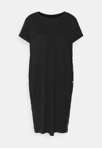 GRID DRESS - Jersey dress - black