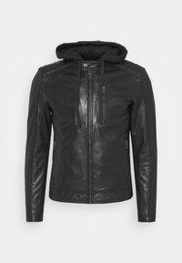 Serge Pariente - RANDALL WITH HOOD - Leather jacket - black - 6