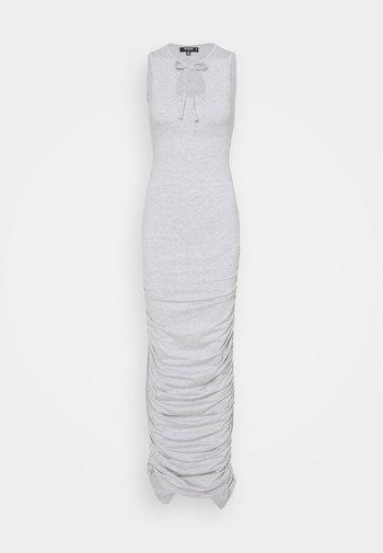 TIE NECK RUCHED DRESS - Maxi dress - grey