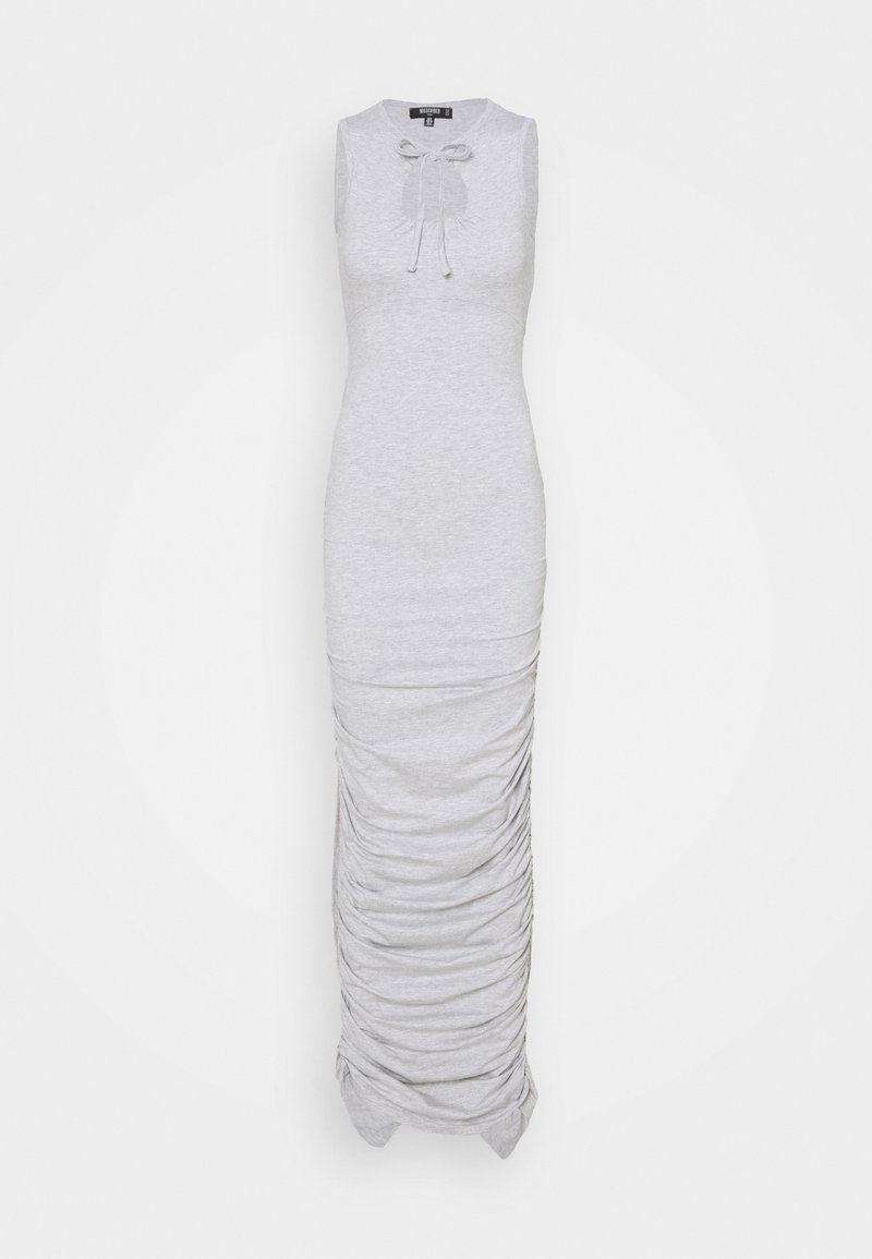 Missguided Tall - TIE NECK RUCHED DRESS - Maxi dress - grey