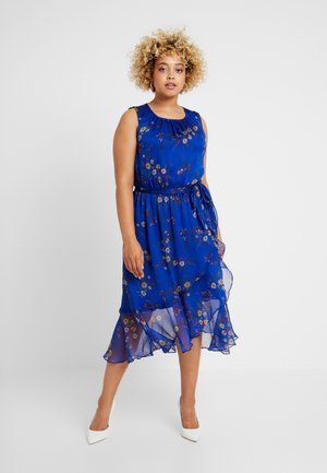 RUFFLED HEM BELTED COUNTRY - Day dress - electric blue