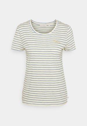 STRIPED TEE WITH EMBRO - Print T-shirt - creme yellow blue stripe