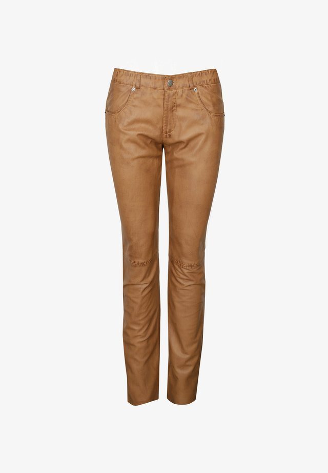 Leather trousers - light cognac