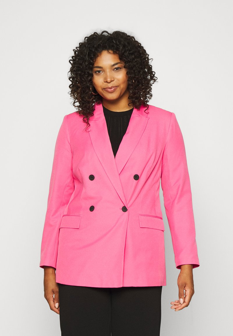 Simply Be - DOUBLE BREASTED BLAZER - Blazer - hot pink