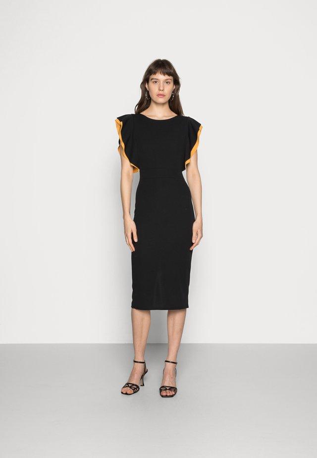 CONTRAST FRILL SLEEVE MIDI DRESS - Shift dress - black