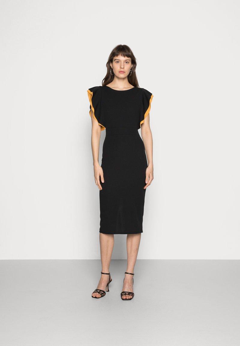 WAL G. - CONTRAST FRILL SLEEVE MIDI DRESS - Shift dress - black