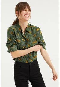 WE Fashion - MET DESSIN - Button-down blouse - dark green - 3