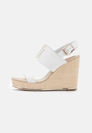 ELASTIC HIGH WEDGE  - Platform sandals - ecru