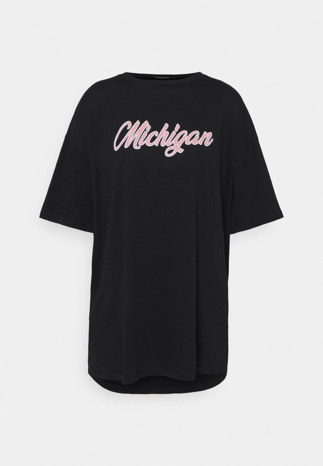 MICHIGAN SHOULDER OVERSIZED  - T-shirt imprimé - black