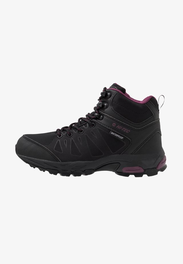 RAVEN MID WP - Hiking shoes - black/grape wine