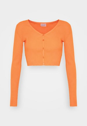 V NECK CROP WITH BUTTON DETAIL - Strikjakke /Cardigans - orange