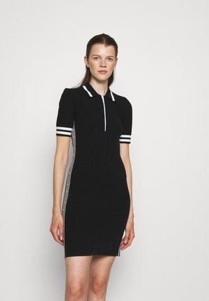 LOGO TAPE HALF ZIP DRESS - Etuikleid - black
